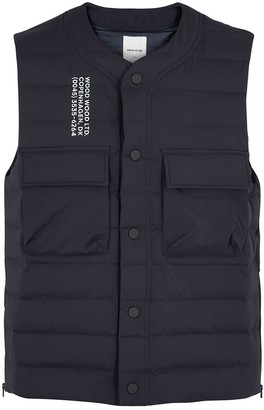 Wood Wood Kevin Navy Quilted Shell Gilet