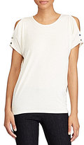 Lauren Ralph Lauren Petite Cutout-Shoulder Jersey Top