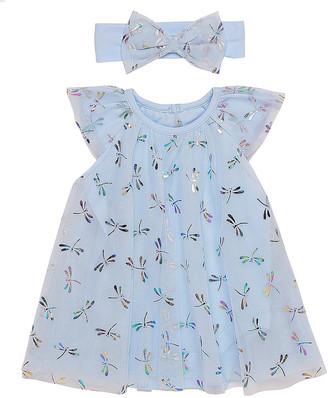 Baby Starters Girls' Casual Dresses Blue - Blue Floral Angel-Sleeve Dress & Headband - Infant