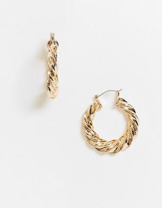 ASOS DESIGN hoop earrings in thick twist design in gold tone