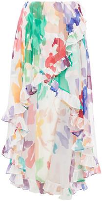 Caroline Constas Adelle Asymmetric Ruffled Printed Chiffon Skirt