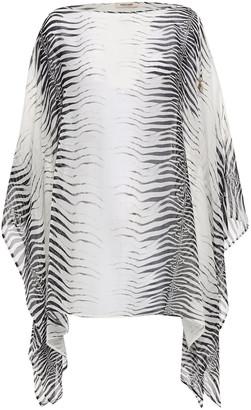 Roberto Cavalli Draped Zebra-print Cotton And Silk-blend Voile Top