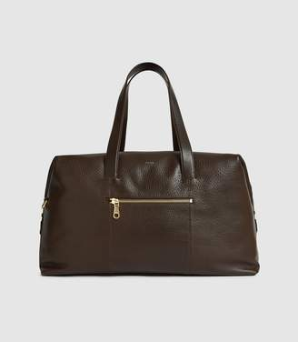 Reiss OWEN LEATHER WEEKEND HOLDALL Mahogany