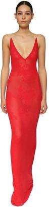 Azzaro Intarsia Knit Dress W/ Crystal Straps