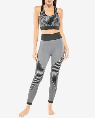 Express Electric Yoga High Waisted Linear Striped Leggings