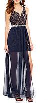 Jodi Kristopher Two-Tone Lace Long Overlay Dress