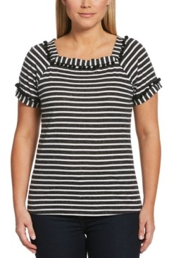 Rafaella Striped Short Sleeve Square Neck Tee Shirt