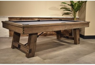 """Plank & Hide Isaac Slate Pool Table With Professional Installation Included Felt Color: Golden, Size: 96"""" W x 58"""" D"""