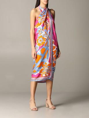 Emilio Pucci Sarong Dress In Silk Twill With Samoa Print