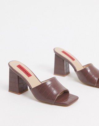 London Rebel square toe heeled mules in chocolate croc