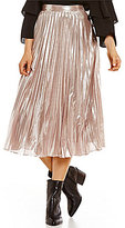 1 STATE Metallic Pleated Skirt