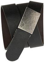 Aeropostale Mens Reversible Leather Plaque Belt Black