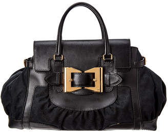 Gucci Black Gg Canvas & Leather Large Dialux Queen Bag