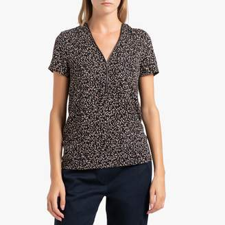 Ikks Printed V-Neck Blouse with Short Sleeves