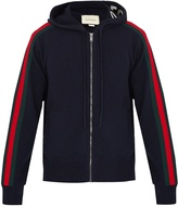 Gucci Web-trimmed wool-blend hooded cardigan