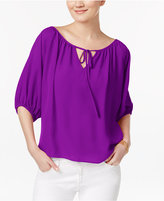 INC International Concepts Tie-Front Peasant Top, Only at Macy's