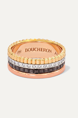 Boucheron Quatre Classique Small 18-karat Yellow, White And Rose Gold, Pvd And Diamond Ring - 50