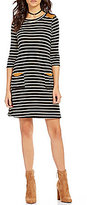 I.N. San Francisco Faux-Suede Trim Striped Sheath Dress