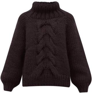 I Love Mr Mittens Honeycomb Knit Wool Sweater - Womens - Black