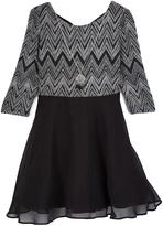 Amy Byer Black Chevron A-Line Dress & Necklace - Girls