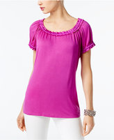 INC International Concepts Scoop-Neck Satin-Trim Top, Created for Macy's