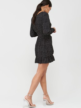 Missguided Ruched Button Side Polka Dot Tea Dress - Black