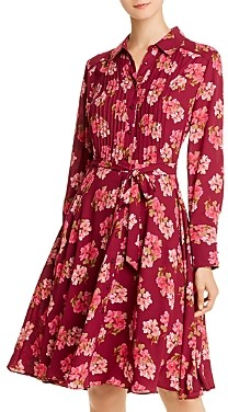 Nanette Lepore nanette Pintucked Floral Print Shirt Dress