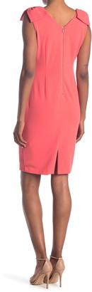 Tahari V-Neck Bow Shoulder Sheath Dress