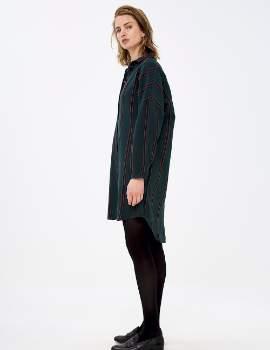 Green Cotton By Bar By-Bar - Dark Stripe Flanel Dress - cotton | Dark Green | xsmall