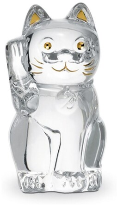 Baccarat Cat Maneki Neko Crystal Figurine