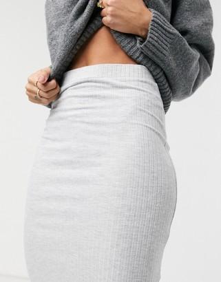 New Look ribbed midi skirt in grey