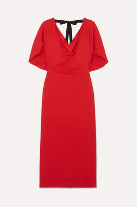 Roland Mouret Marianna Grosgrain-trimmed Draped Stretch-crepe Dress - Red