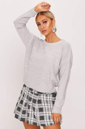 I SAW IT FIRST Grey Scoop Neck Knitted Jumper