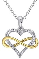 Allura 1/10 CT. T.W. Diamond Infinity Heart Pendant Necklace in 2-Tone White and Yellow Sterling Silver