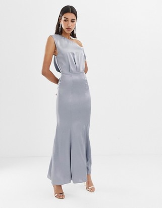 Asos Design DESIGN maxi dress with drape one shoulder in satin-Silver