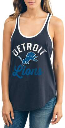 Junk Food Clothing Unbranded Women's Black Detroit Lions Goal Line 1-Hit Ringer Tank Top