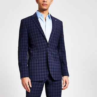 River Island Navy check slim fit suit jacket