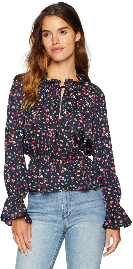The Fifth Label Womens Carousel Halter Long Sleeve Printed Top