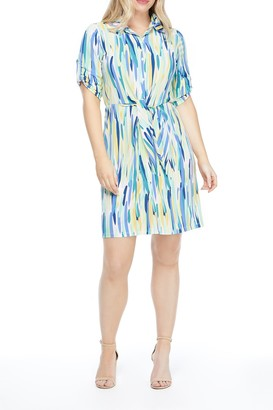 London Times Tie Front Patterned Dress
