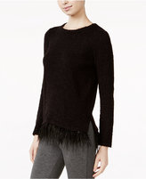 Kensie Textured Faux-Feather-Hem Sweater