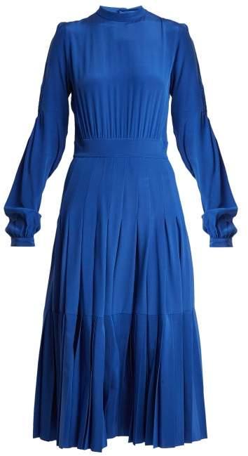 Rochas Pleated Silk Crepe De Chine Midi Dress - Womens - Blue