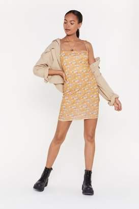 Nasty Gal Mustard Floral Print Tie Strap Mini Dress