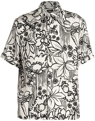 Fendi Flowers Silk Sport Shirt