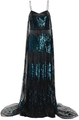 BURNETT NEW YORK Cape-Style Sequin Gown
