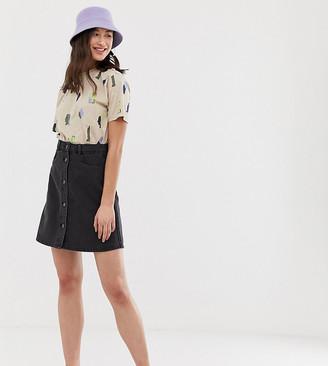 Noisy May Tall button front denim skirt-Black
