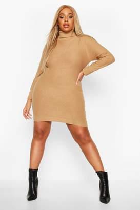 boohoo Plus Rib Knit Roll Neck Jumper Dress