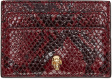 Alexander McQueen Burgundy Python-Embossed Card Holder