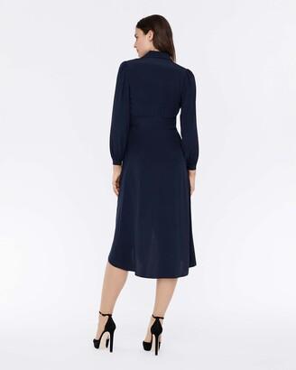 Diane von Furstenberg Stella Silk Crepe De Chine Faux-Wrap Midi Dress in Navy