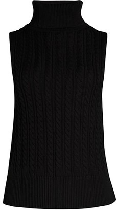 Donna Karan Crop Sleeveless Turtleneck Sweater