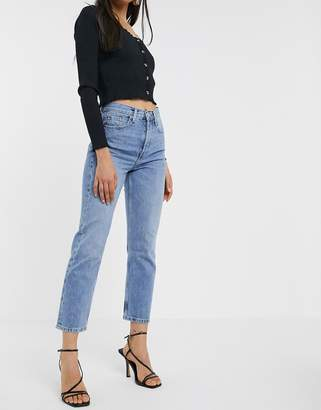 Topshop Editor straight leg jeans in bleach wash